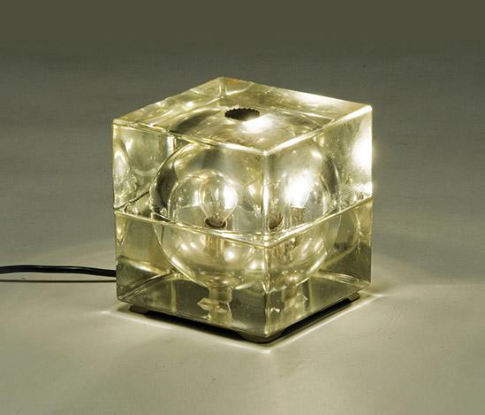 Della Rocca-'Cubosfera' moulded glass table lamp