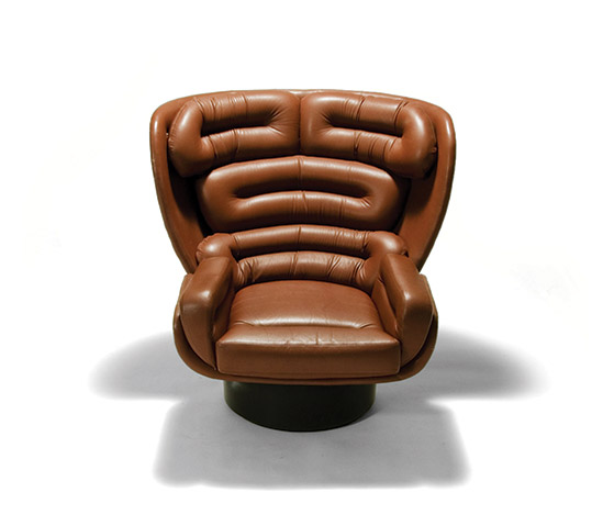 'Elda' leather and fiberglass lounge chair