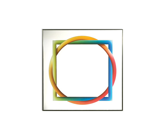 Mirror with geometrical serigraph