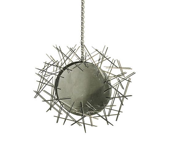 Della Rocca-'FC08' mirror, satinated steel frame