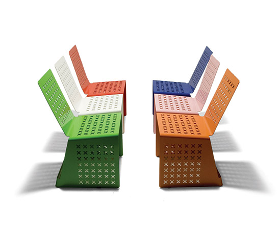 Della Rocca-Six lacquered steel chairs, prototypes