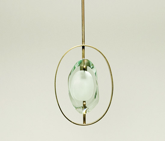 Polished brass and glass pendant lamp