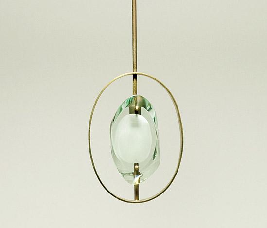 Della Rocca-Polished brass and glass pendant lamp