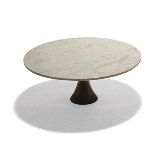 Marble coffee tables with bronze base by Della Rocca