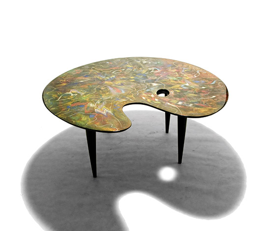 Unique table, painted by Carlo Malnati