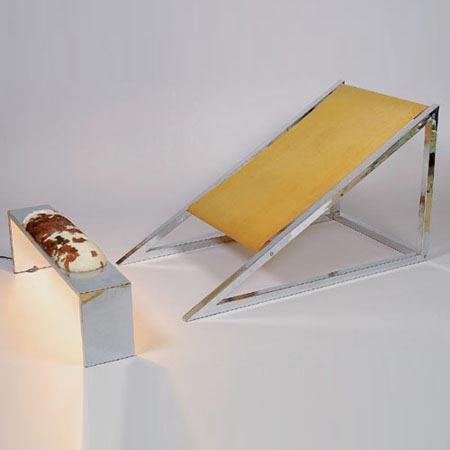"Loungechair mit Fußbank ""Mies"""