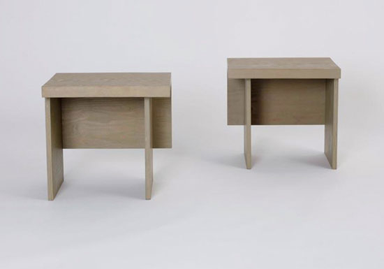 Cantilevered side tables, pair