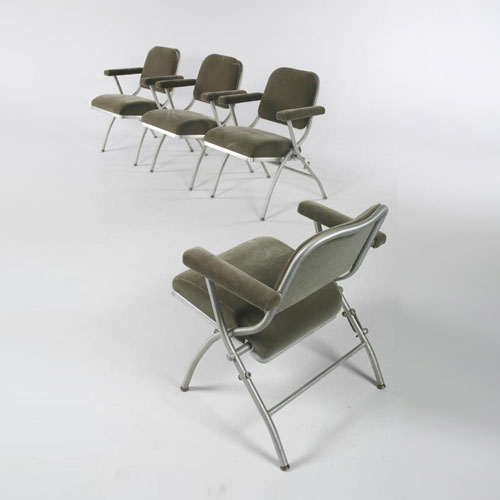Aluminum folding chairs, group