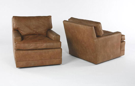 Swivel club chairs, pair