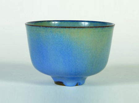 Glazed ceramic footed bowl