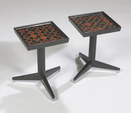 Side tables with inset tiles, pair by Los Angeles Modern Auctions