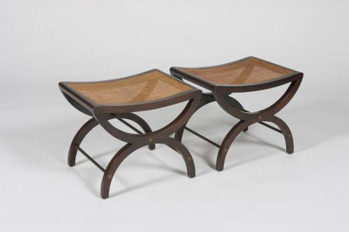 Los Angeles Modern Auctions-Cane benches, pair