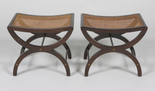 Cane benches, pair by Los Angeles Modern Auctions