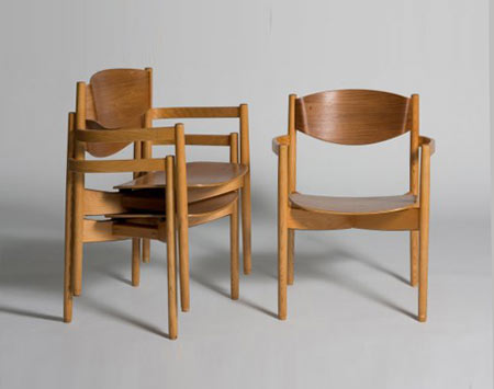 Stacking chairs, set of six