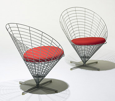 Wire cone chairs model K2, pair de Wright