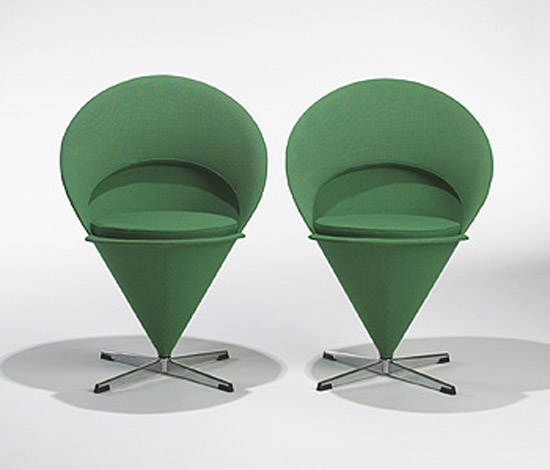 Cone chairs, pair