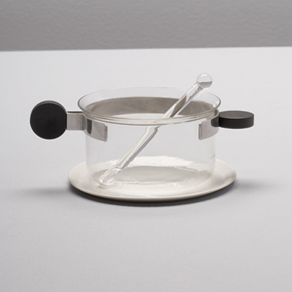 Tea glass with saucer and stirrer