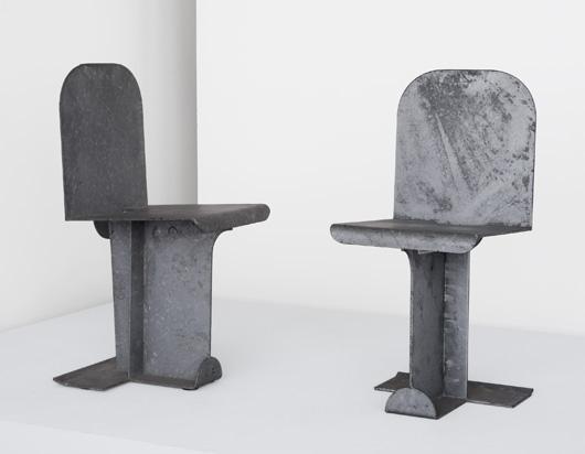 Pierced Seat chairs, pair