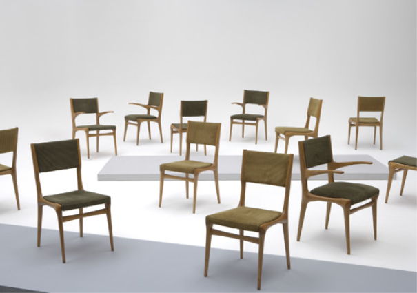Suite of 12 dining chairs