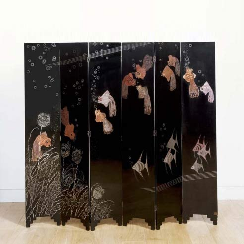 'Fish' six panel screen
