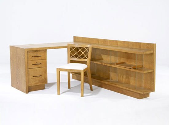 Desk, shelf and bookcase