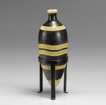 Sotheby´s-Black enameled ceramic lampfoot