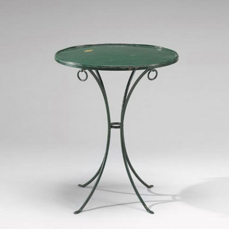 Green re-lacquered pedestal table