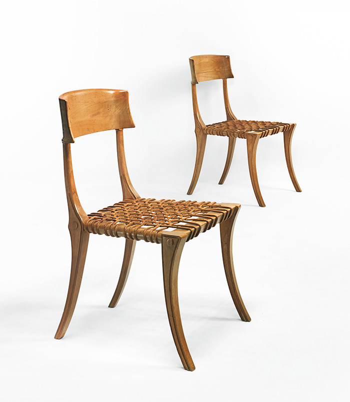 Klismos chairs, pair