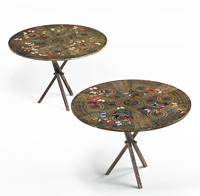 Farfalle side tables, pair
