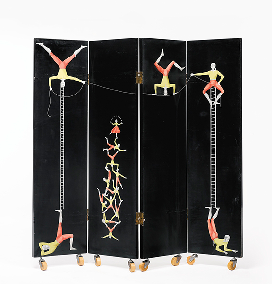 Acrobats four-panel screen