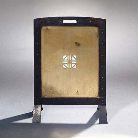 Brass and iron fire screen