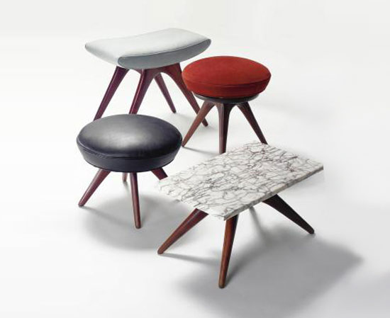 STOOLS AND SIDE TABLE, GROUP