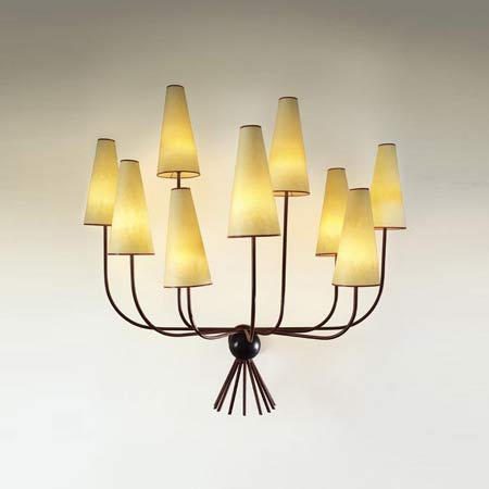 'Hirondelles'' nine-branch wall light