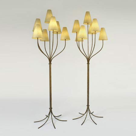 'Persane' seven-branch floor lamps