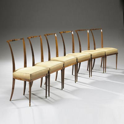 Suite of six chairs by Tajan