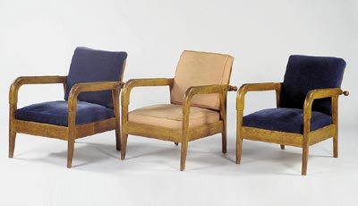 Suite of three armchairs