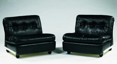 Pair of lounge chairs, model Amanta