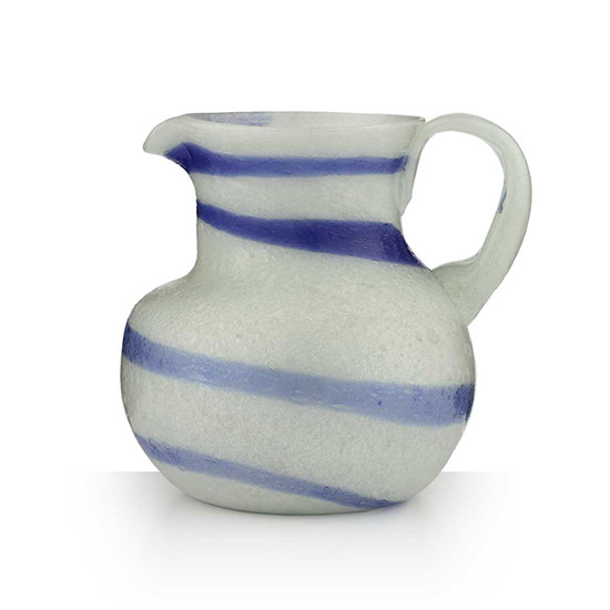 White and blue Murano glass jug