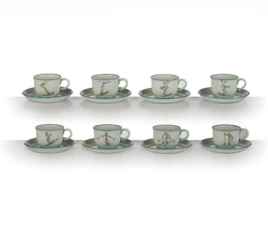 """Sciatori"" coffee set"