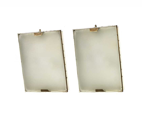 Pair of glass and brass sconces