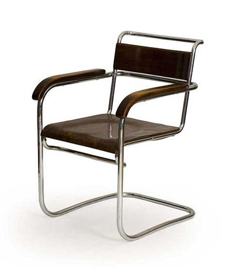 B 34 Steel frame armchair and stool