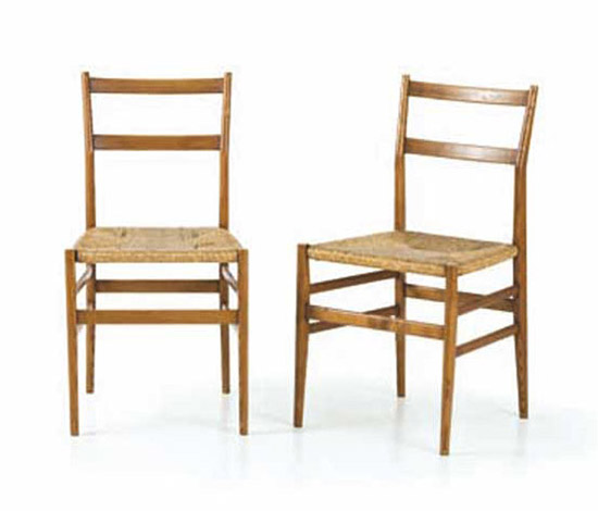 "Six ""Leggera"" wood chairs"