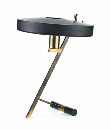 Brass and metal table lamp