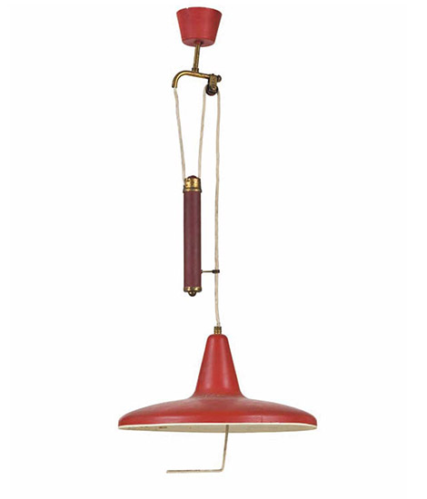 Red metal ceiling lamp