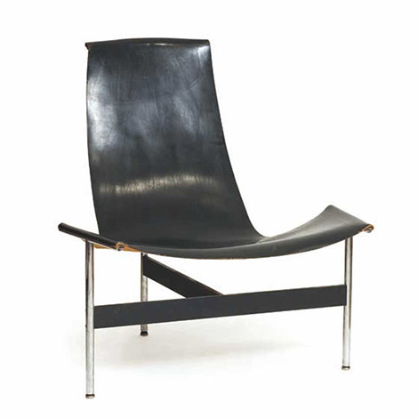 "Leather and steel ""T-armchair"""