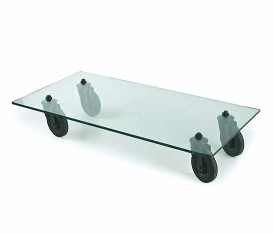 "Wannenes Art Auctions-Glass table w. wheels, ""Tavolo 2652"""