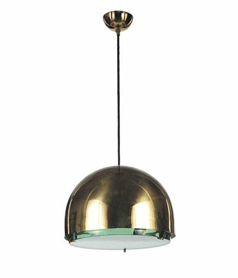 "Brass and crystal ceiling lamp, ""2409"""