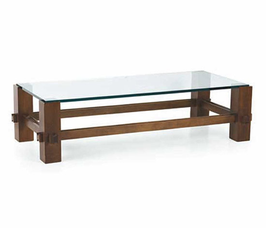 Wood and crystal sofa table, mod. 2461 by Wannenes Art Auctions