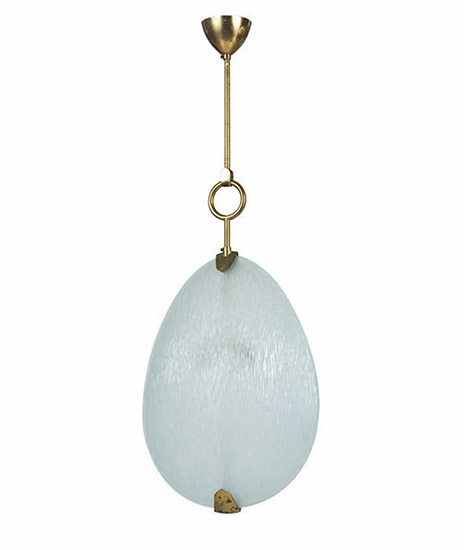 Glass and brass ceiling lamp