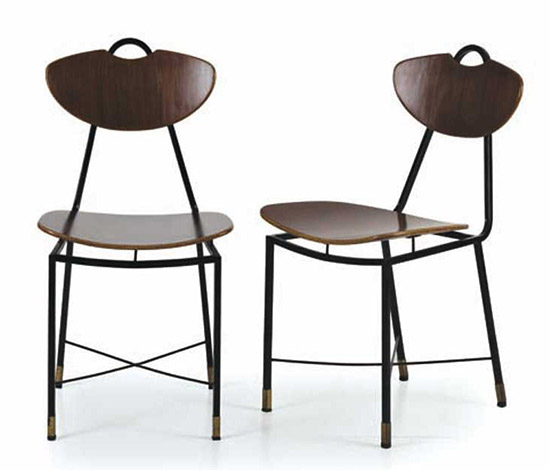 Four Italian wood and metal chairs